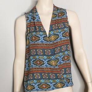 Pink Rose Sleeveless Wrap Aztec BoHo Summer Blouse